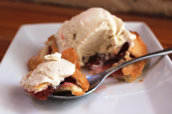 Cranberry Rhubarb Pie with Pumpkin Ale Ice Cream