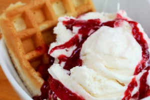 Peach Lambic with Raspberry Coulis and a Toasted Waffle
